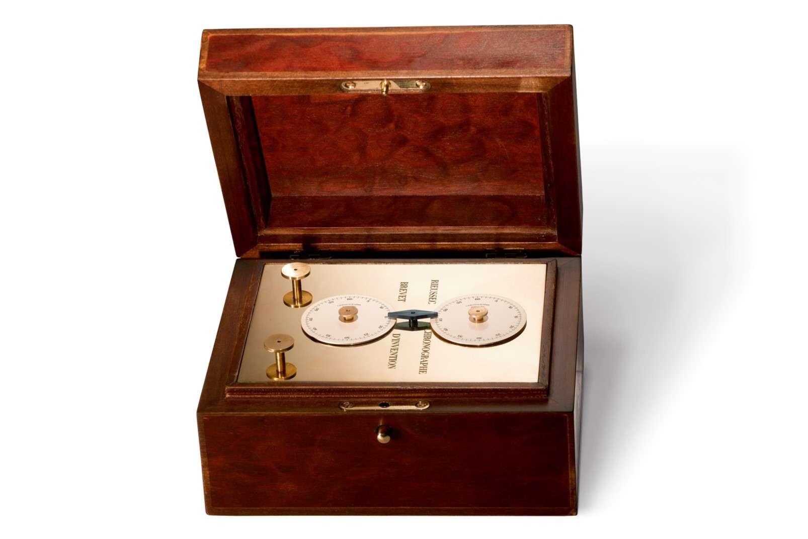 La macchina cronografica inventato da Nicolas Rieussec, foto di Dominique Cohas - Fondation de la Haute Horlogerie, Genève, Suisse, CC BY-SA 3.0
