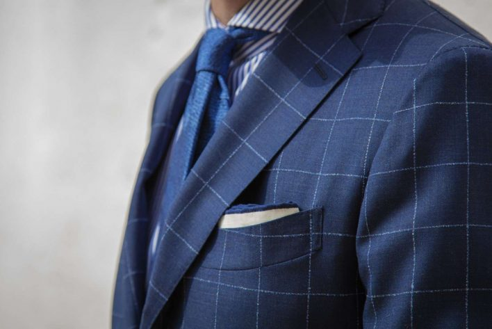 Abito windowpane in malfilè S'130