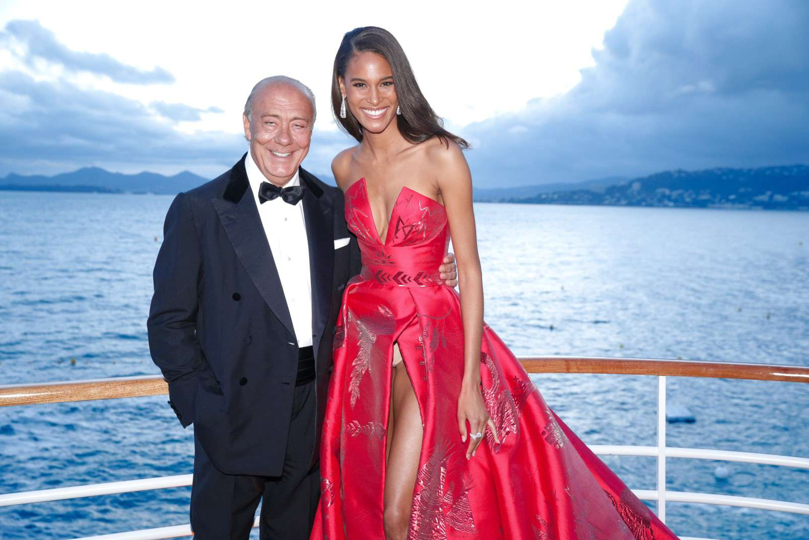 Cannes 2018, Cindy Bruna wearing de Grisogono jewellery, with de Grisogono CEO Fawaz Gruosi, photo courtesy of de Grisogono