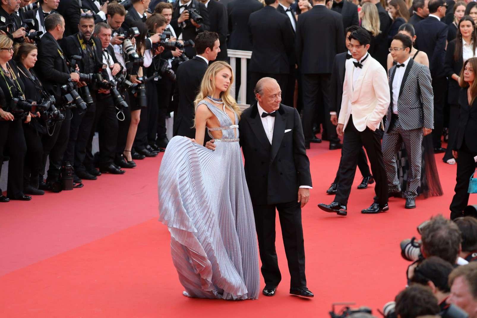 Cannes 2018, Romée Strijd wearing de Grisogono jewellery, with de Grisogono CEO Fawaz Gruosi, photo courtesy of de Grisogono