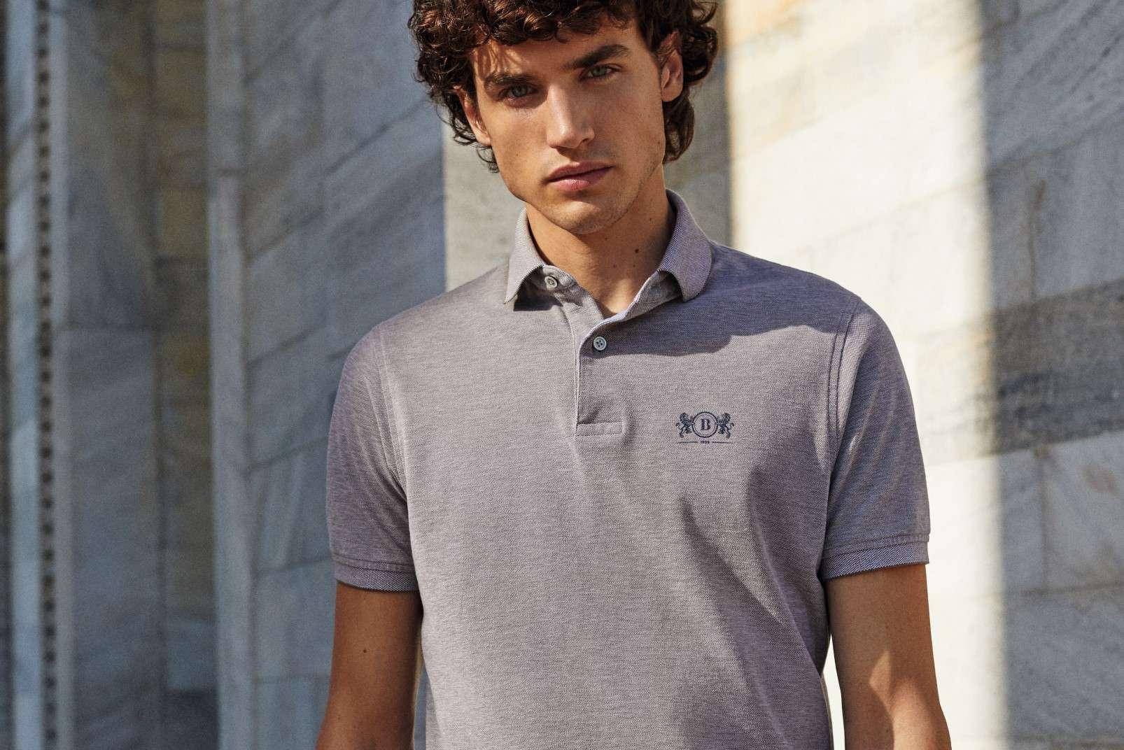 Boggi Milano polo shirt grey melange