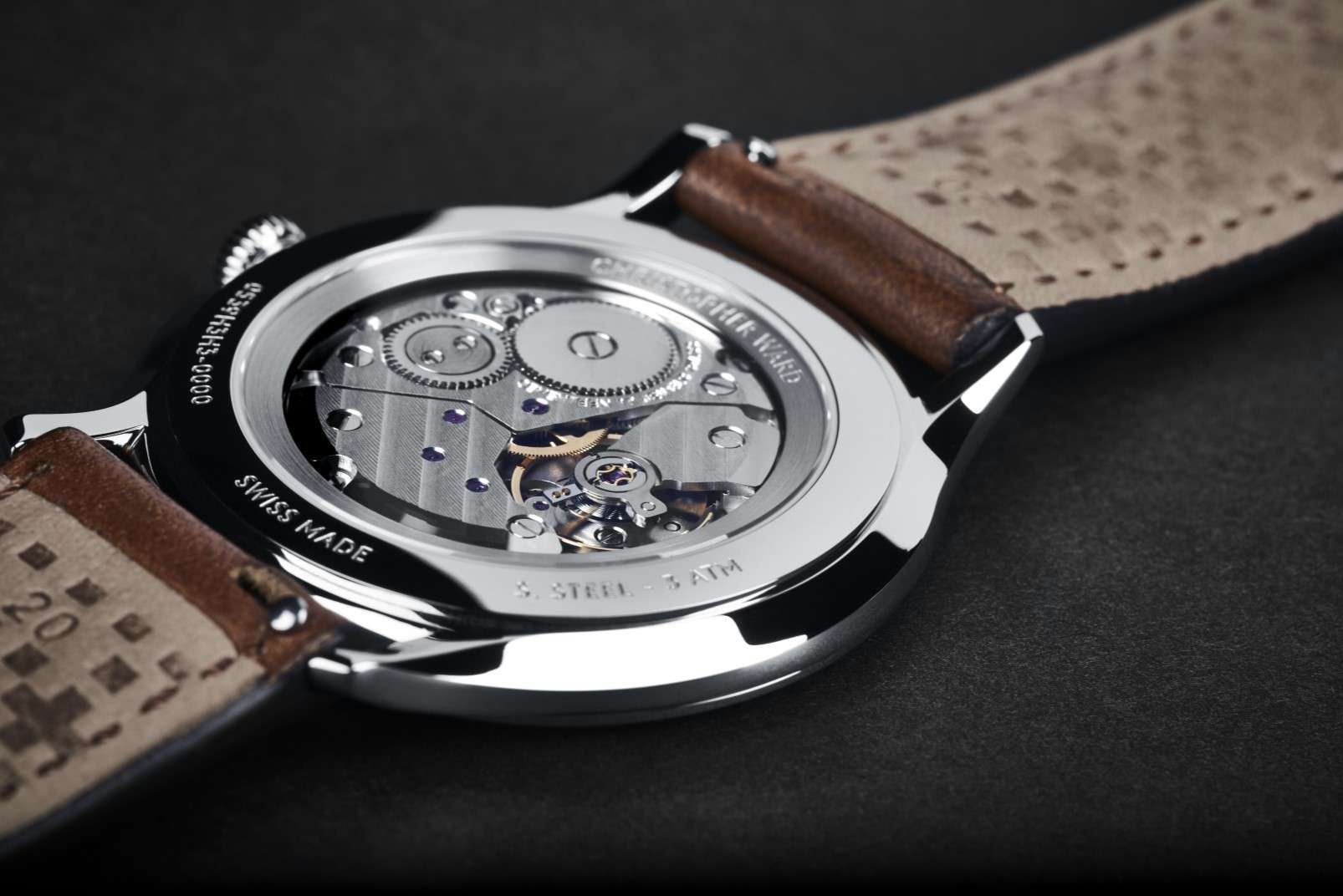 Christopher Ward C5 Malvern 595 dress watch caseback