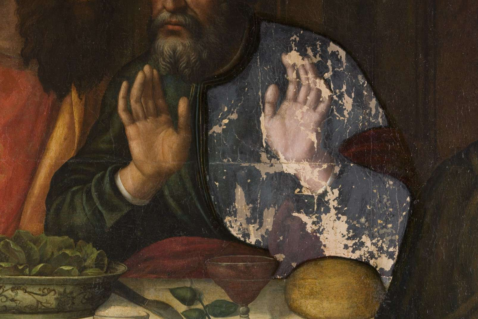 Last Supper by Plautilla Nelli - Adopt an Apostle - Detail of hands, photo by Francesco Cacchiani
