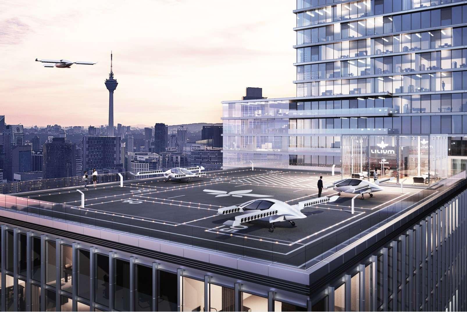 Lilium passenger-carrying drone landing pad rooftop