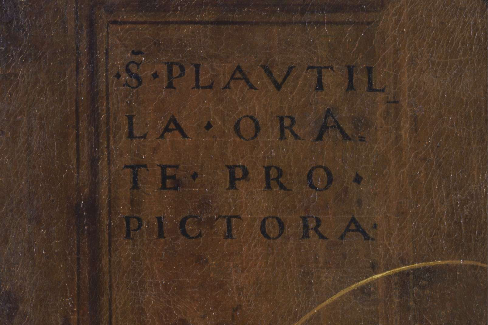 Last Supper by Plautilla Nelli - Adopt an Apostle - Detail of the paintress's signature and motto