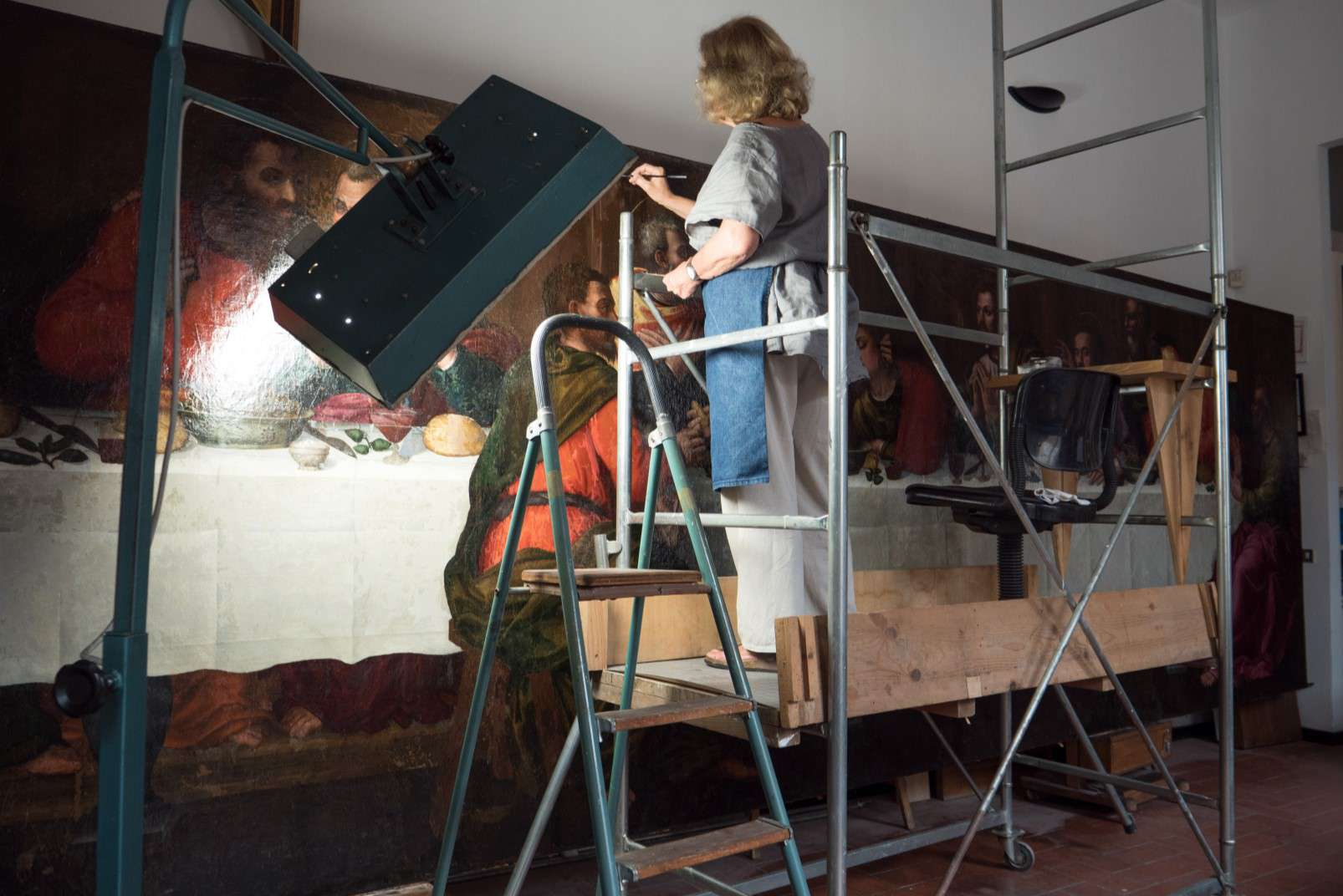 Last Supper by Plautilla Nelli - Adopt an Apostle - Working on scaffolding for the painting's reconstruction