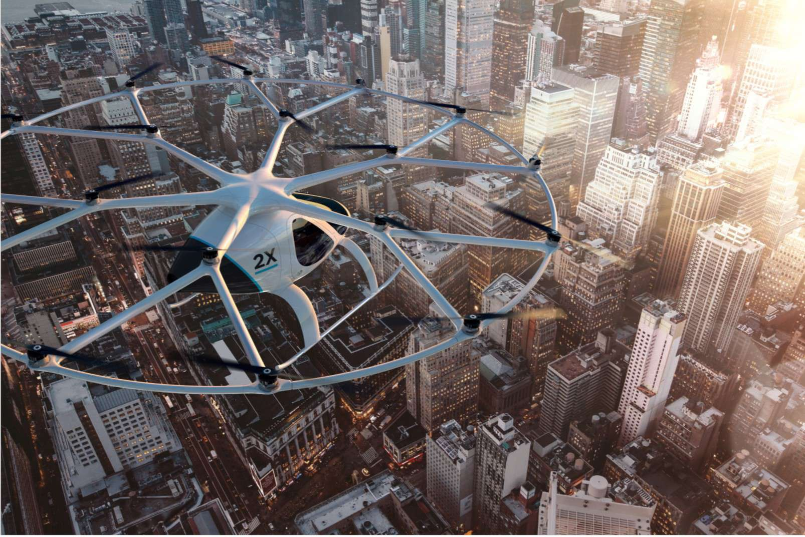 Volocopter passenger-carrying drone above city