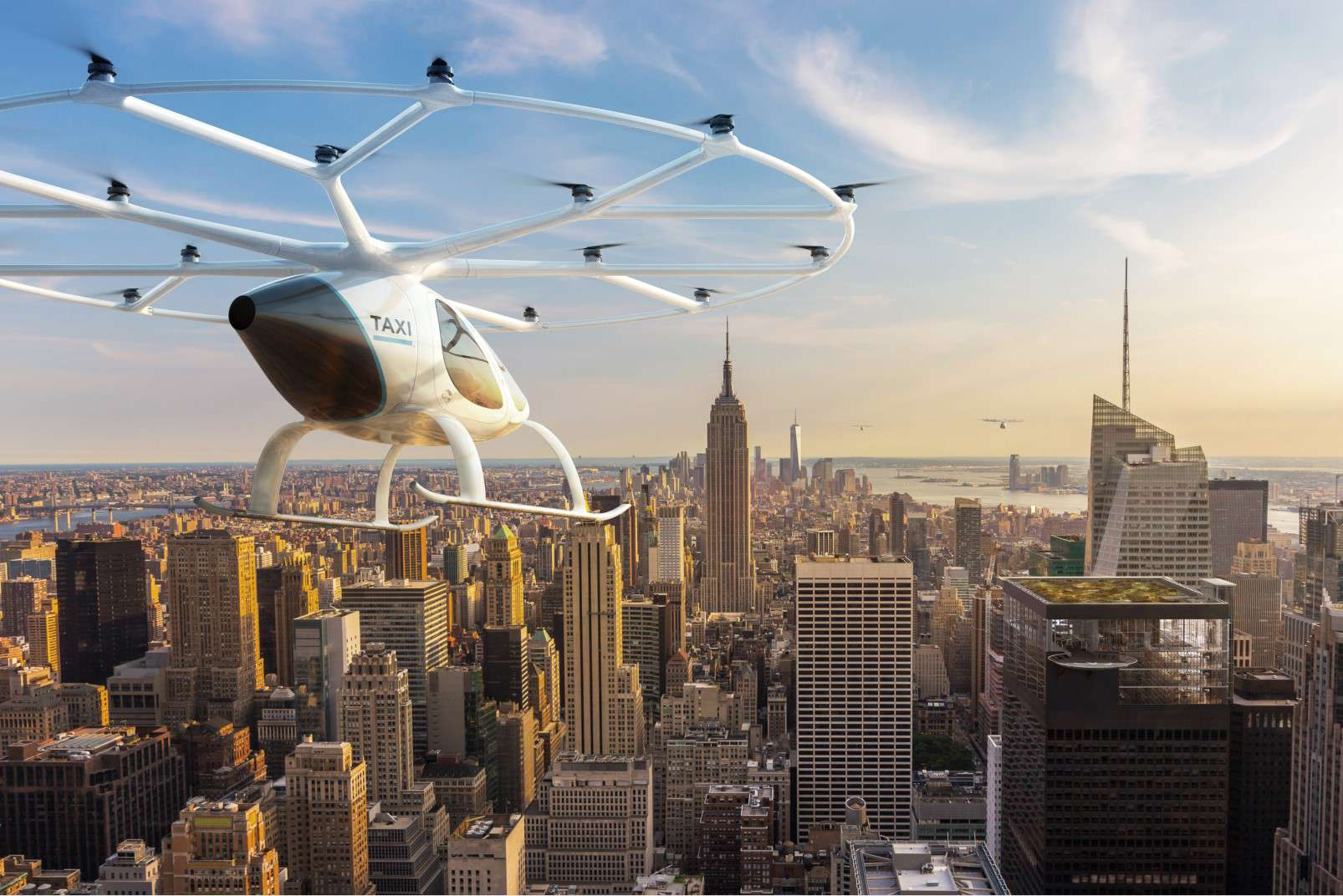 Volocopter passenger-carrying drone panorama over NYC