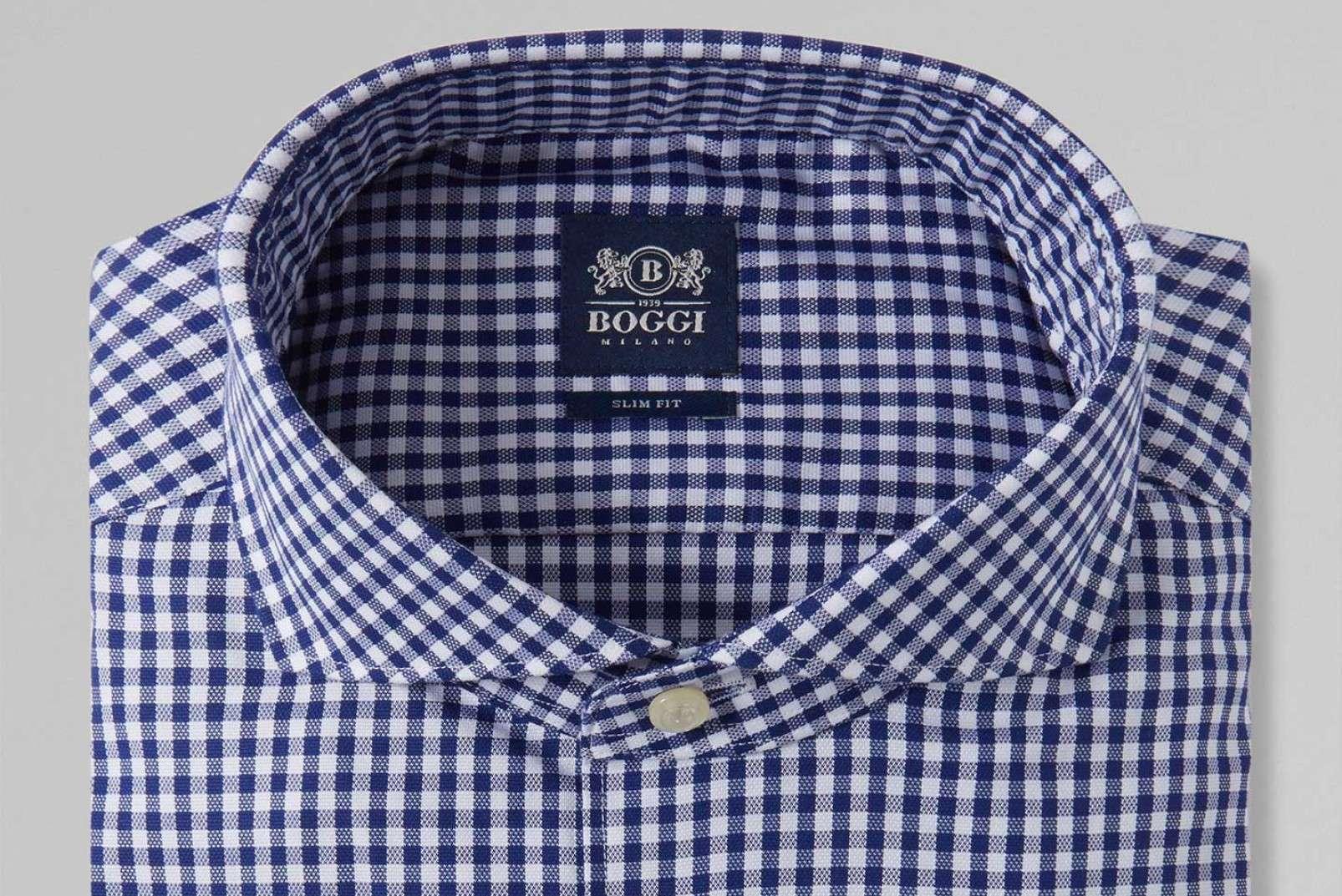Blue check shirt with Napoli collar BO19P035501