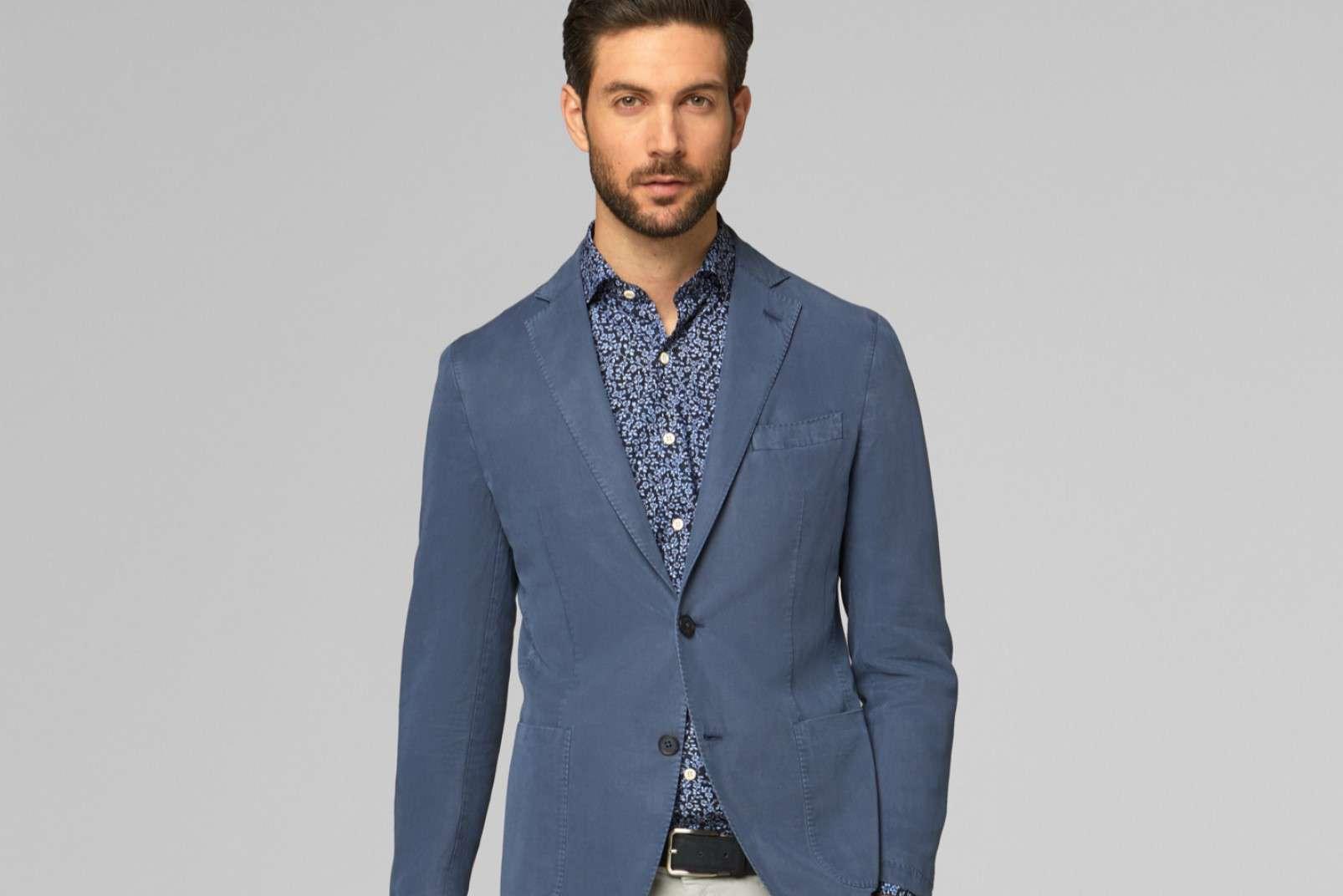 BO19P119501 floral shirt under blazer