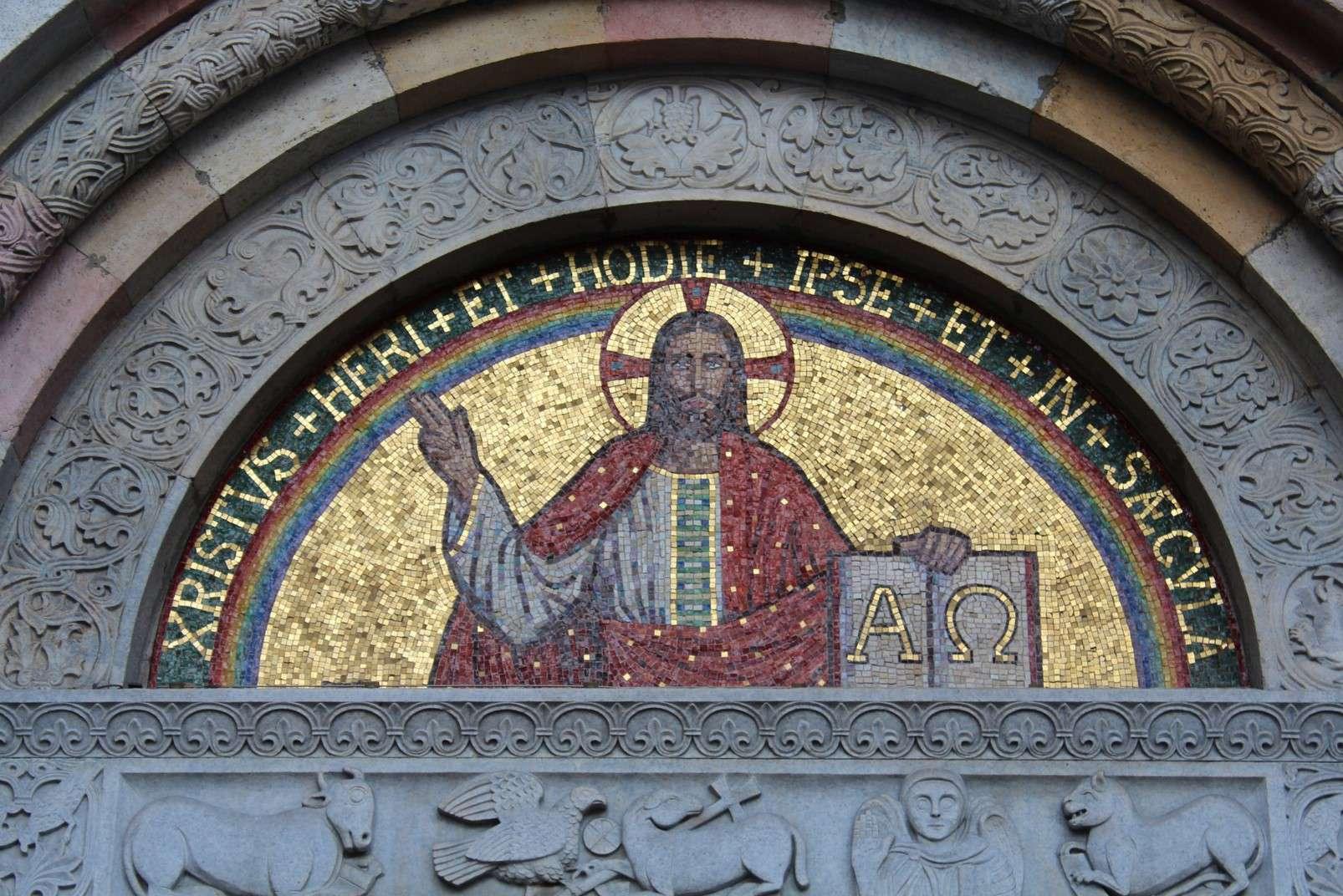 Mosaic on the facade of the Church of San Babila, Milan