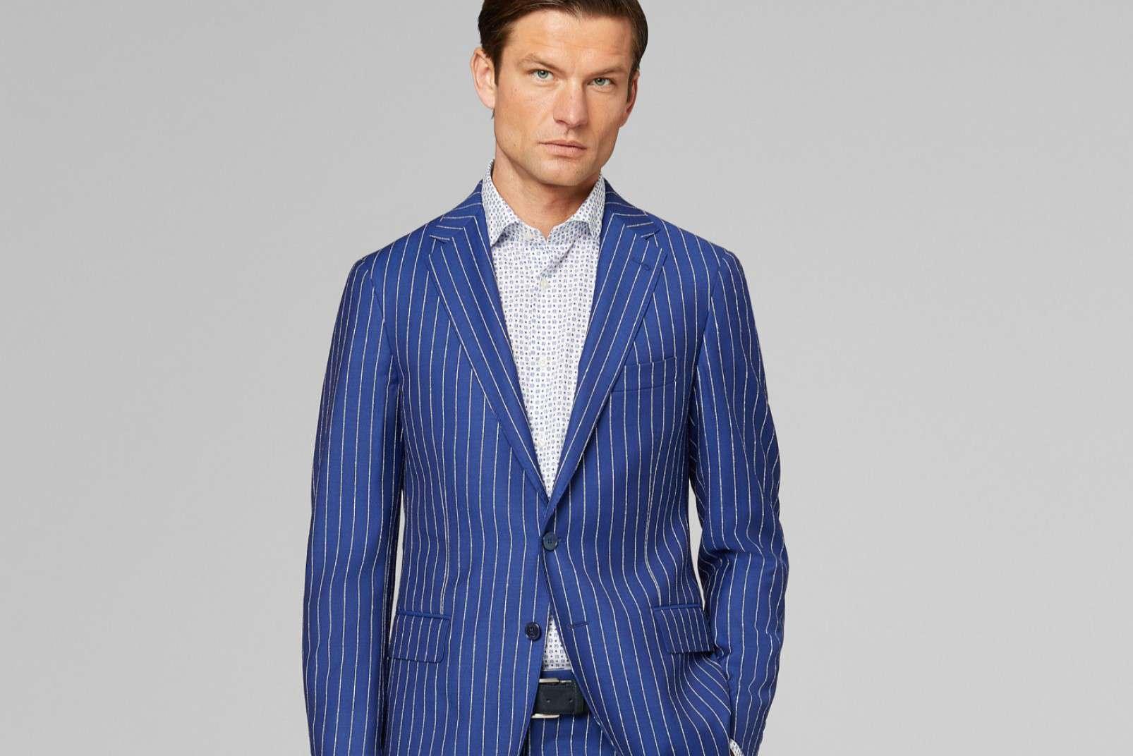 Floral print shirt BO19P036501 under Royal Blue 2-piece pinstripe suit