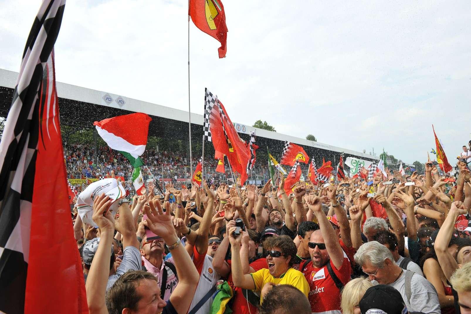 Ferrari tifosi at the Monza racetrack