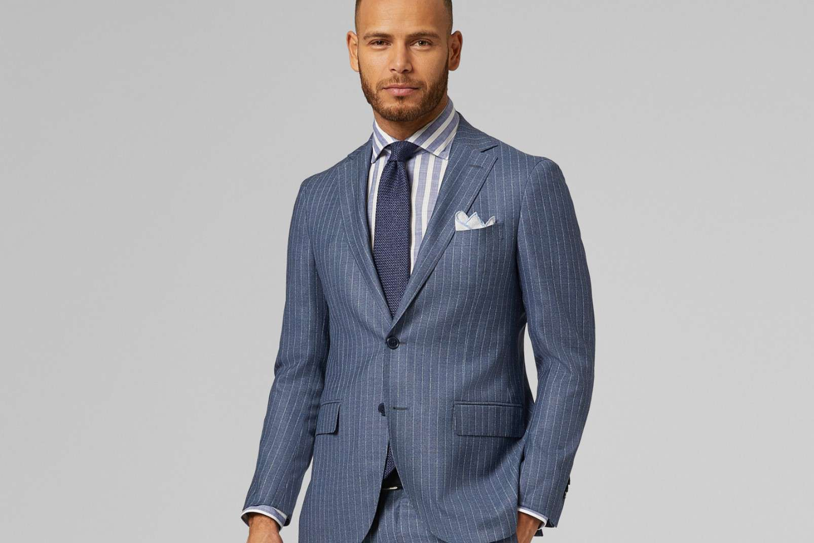 Two-piece suit with cotton Chambray shirt BO19P036201