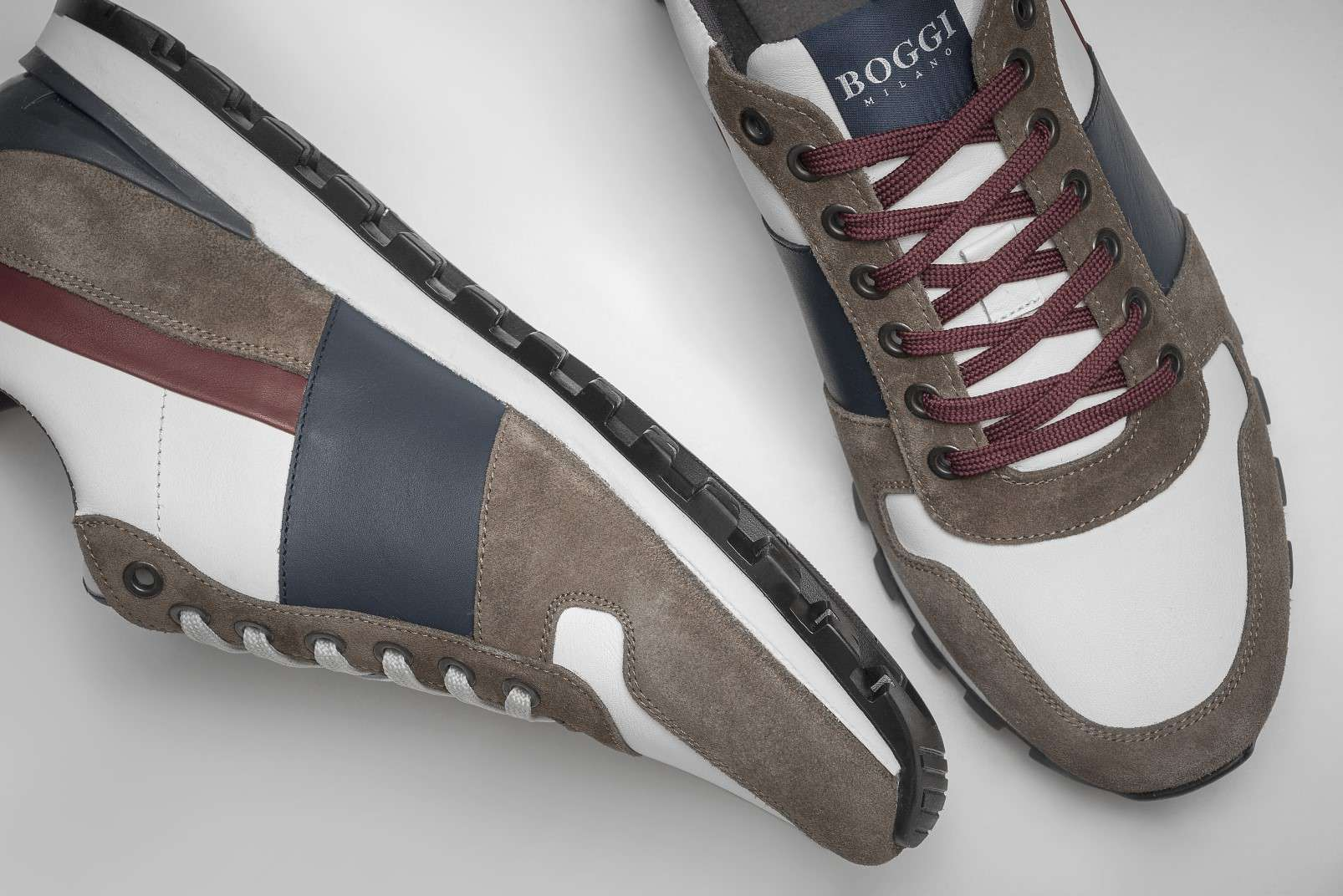 Boggi Milano running sneakers with suede and white, blue and burgundy leather