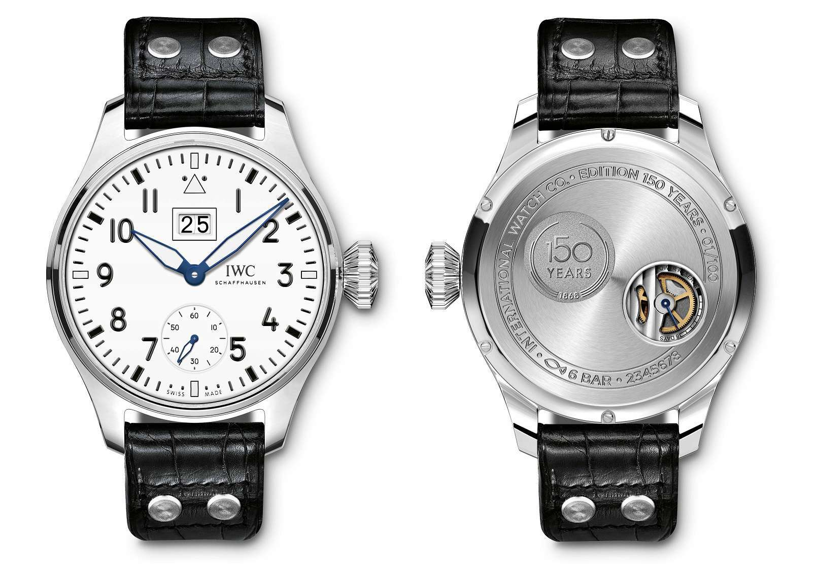IWC Schaffhausen Big Pilot's Watch Big Date Edition 150 Years white dial and caseback