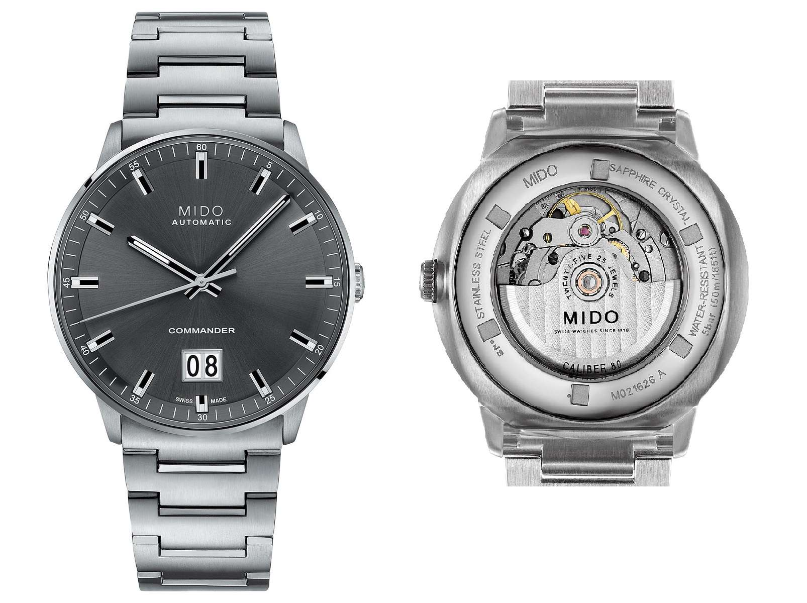 Mido Commander Big Date front and caseback