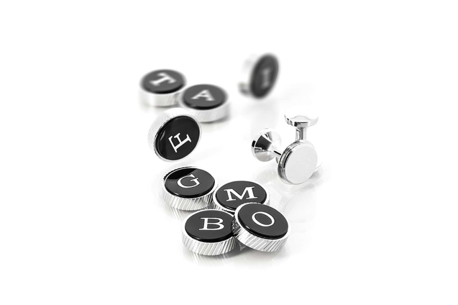 Boggi Milano cufflinks with metal base and interchangeable screw-on letters