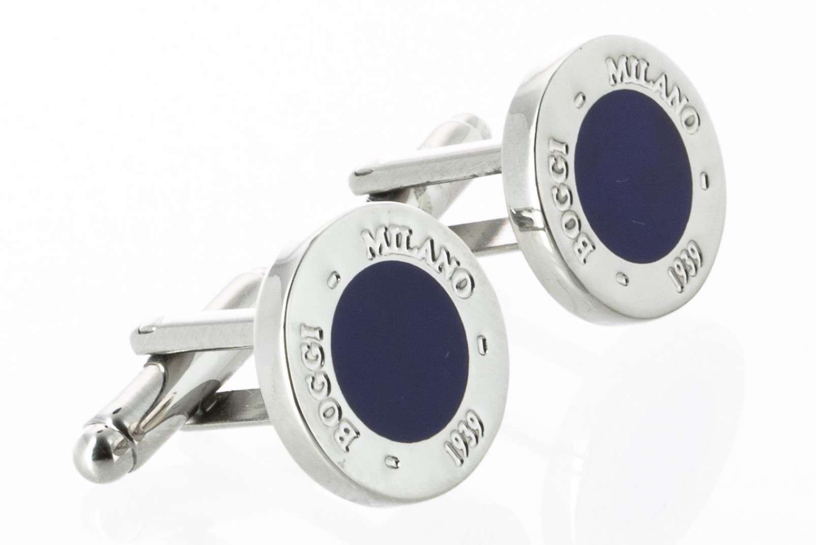 Boggi Milano silver plate cufflinks with blue central motif BO08C973901