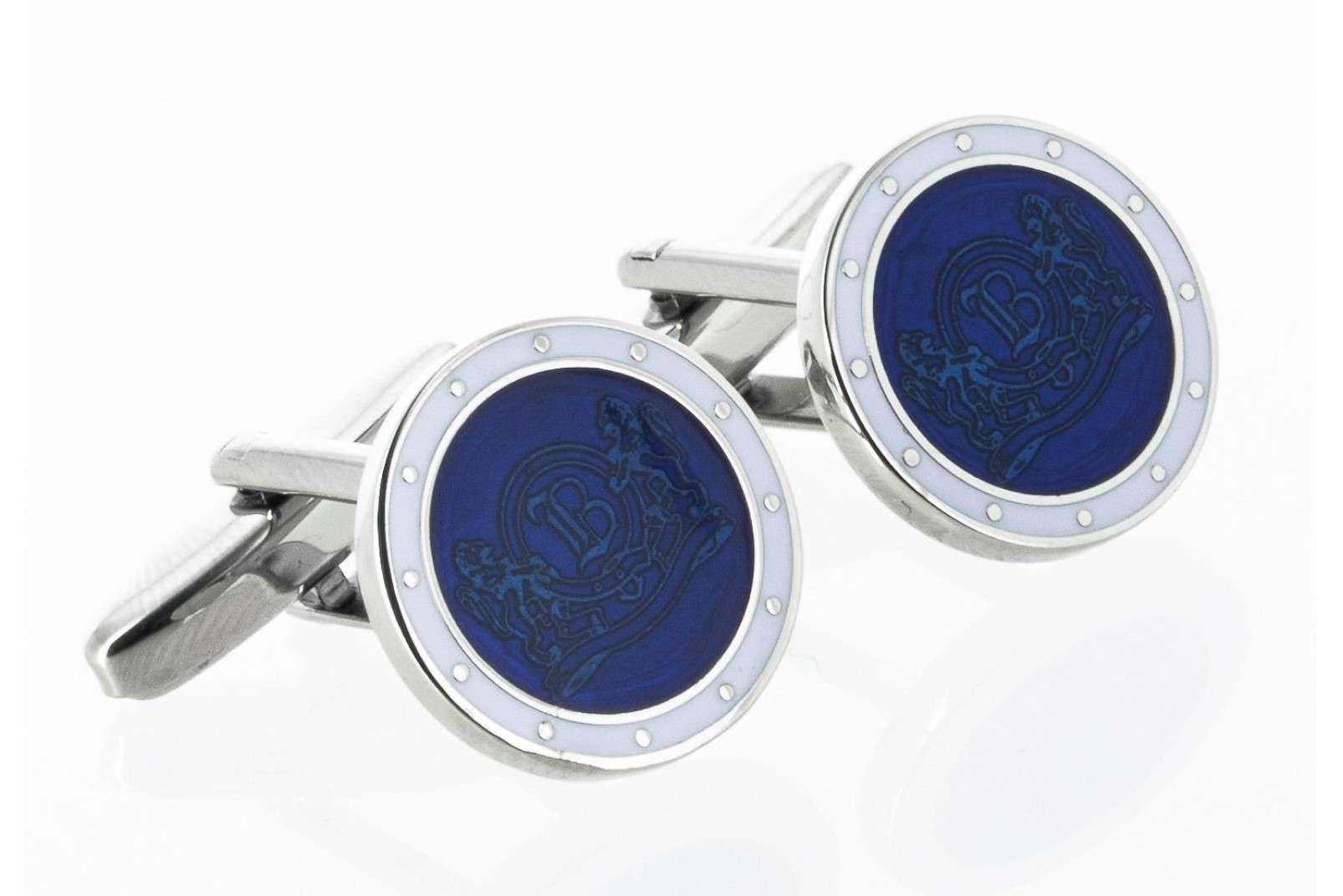 Boggi Milano blue cufflinks with logo BO10C000306