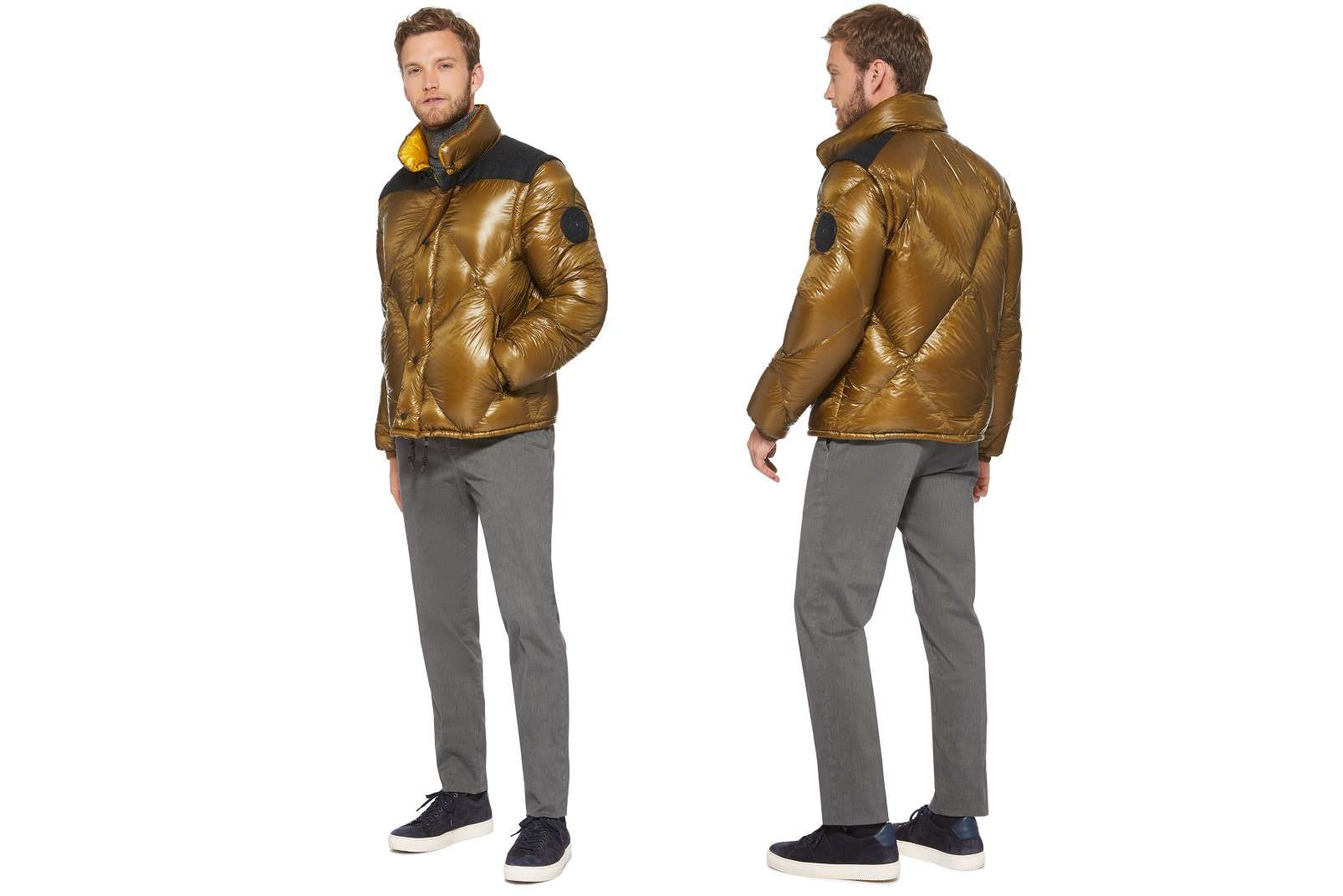 Boggi Milano ochre bomber jacket BO18A011704 front and back