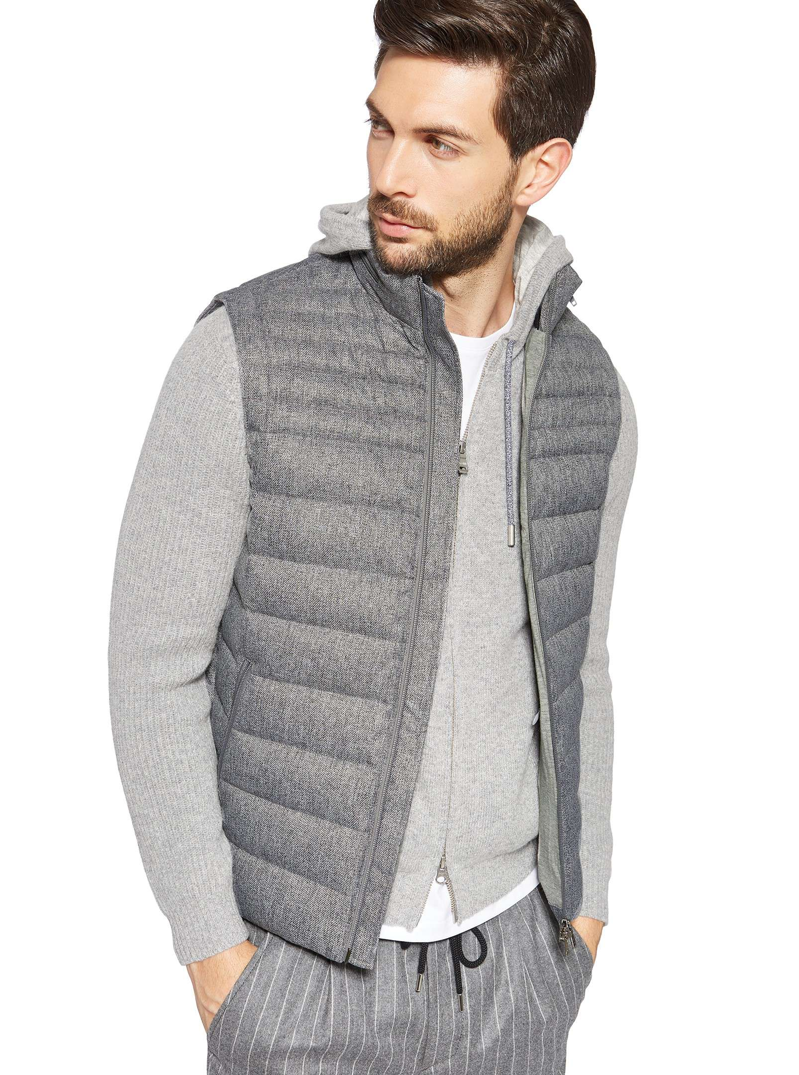 Grey quilted waistcoat