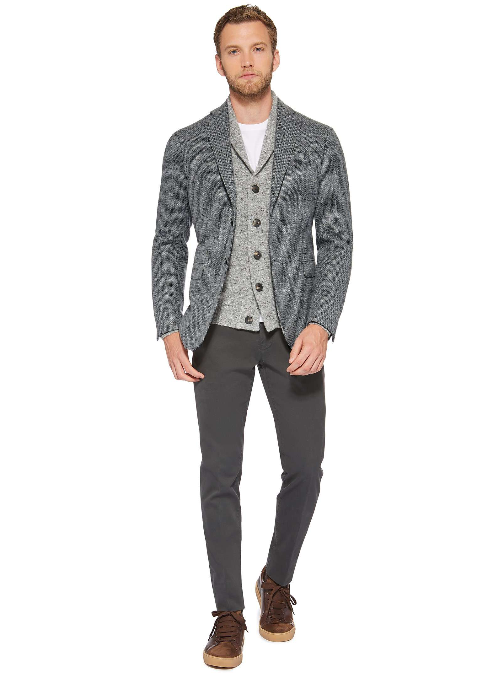 Grey jacket and cardigan