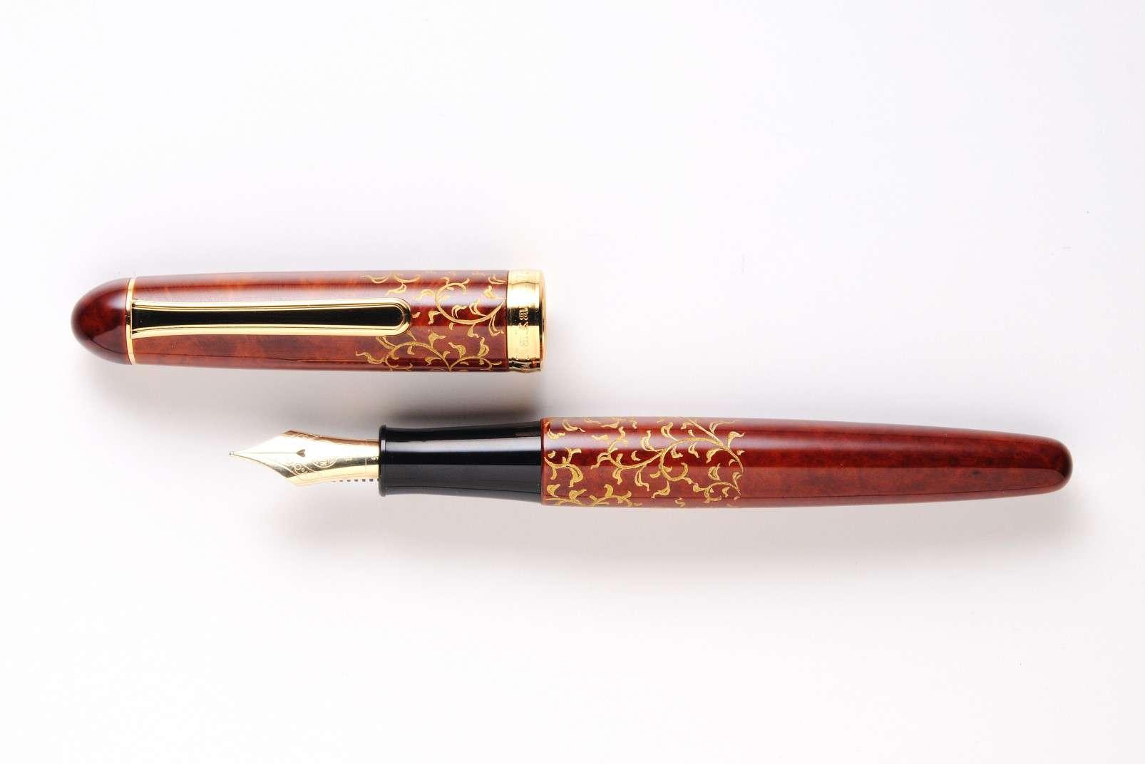 Nakaya fountain pen - Chinkin on Briar - light glossy - Arabesque 2 - Nakaya