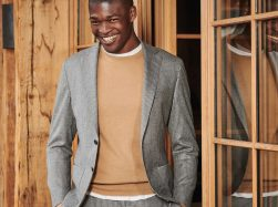 Crew-neck sweater and grey micro-pinstripe suit