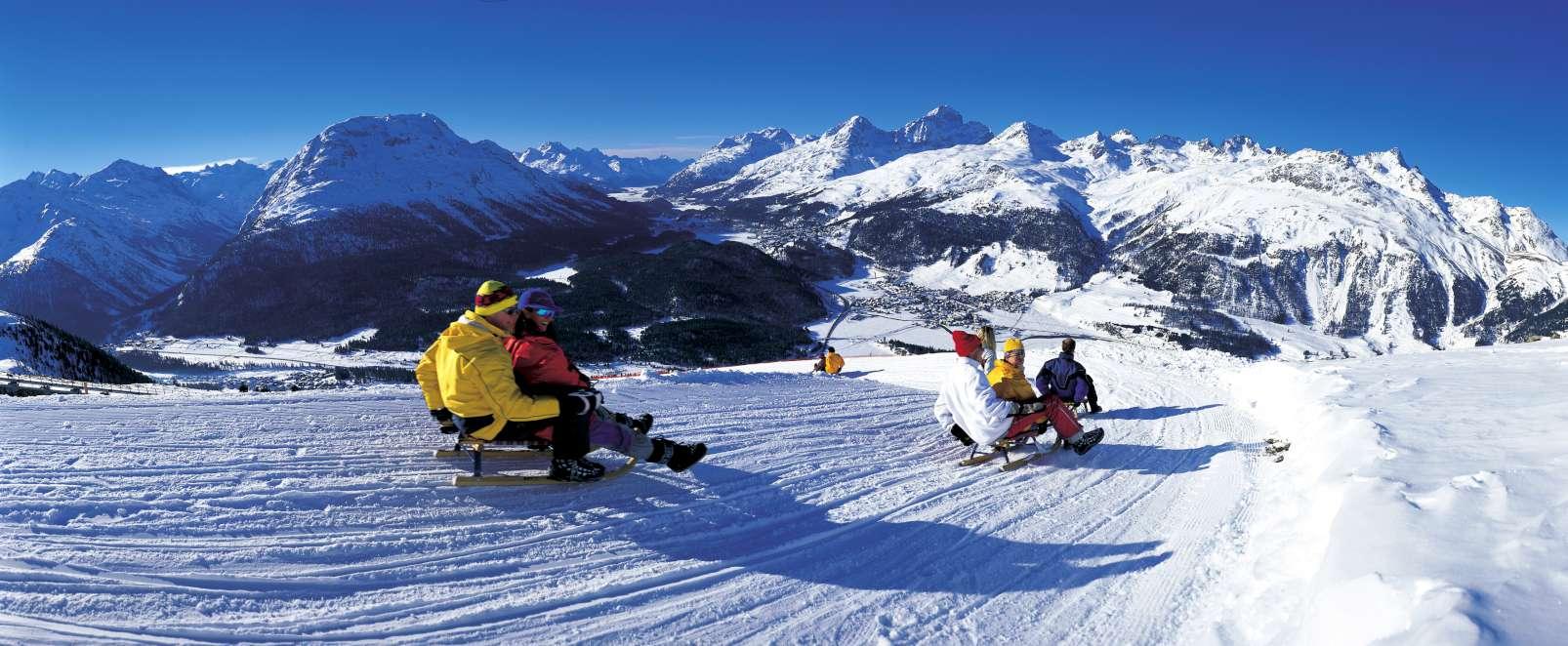 Sledding on Muottas Muragl St Moritz