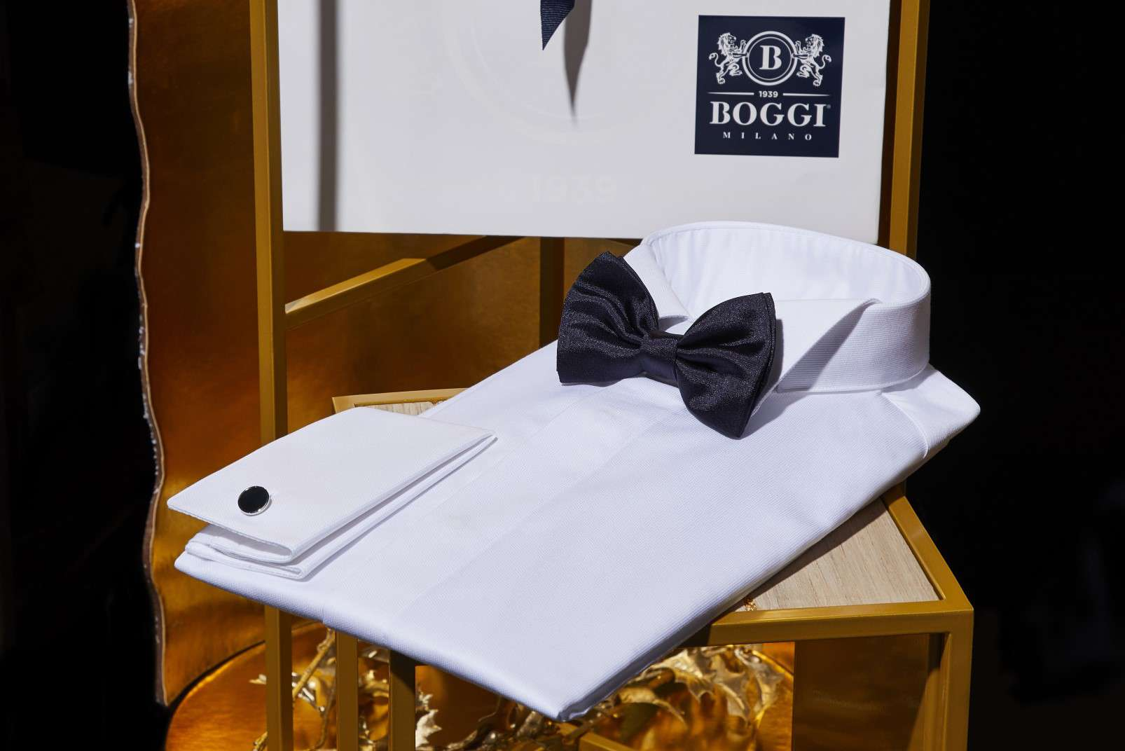 Boggi Milano gifts for a Gentleman - tuxedo shirt, black silk pre-tied bow tie