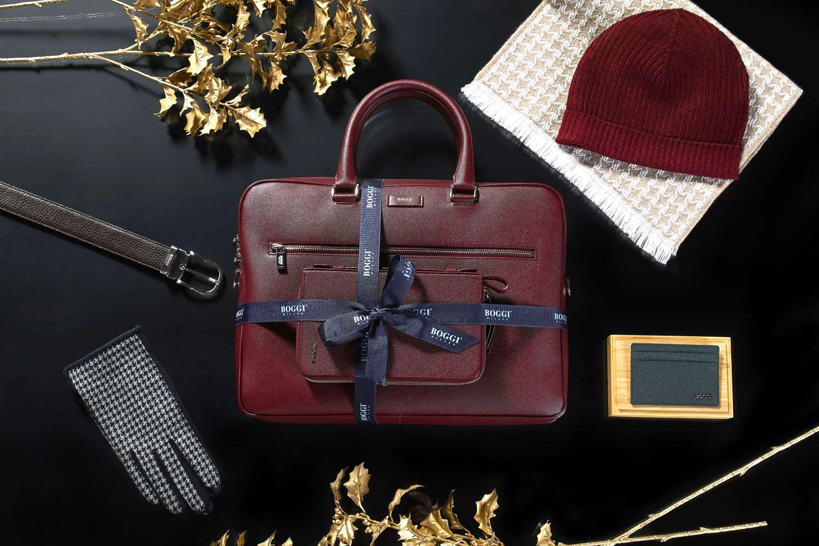 Boggi Milano gifts for a Gentleman - case, organizer, hat, gloves, belt, business card holder