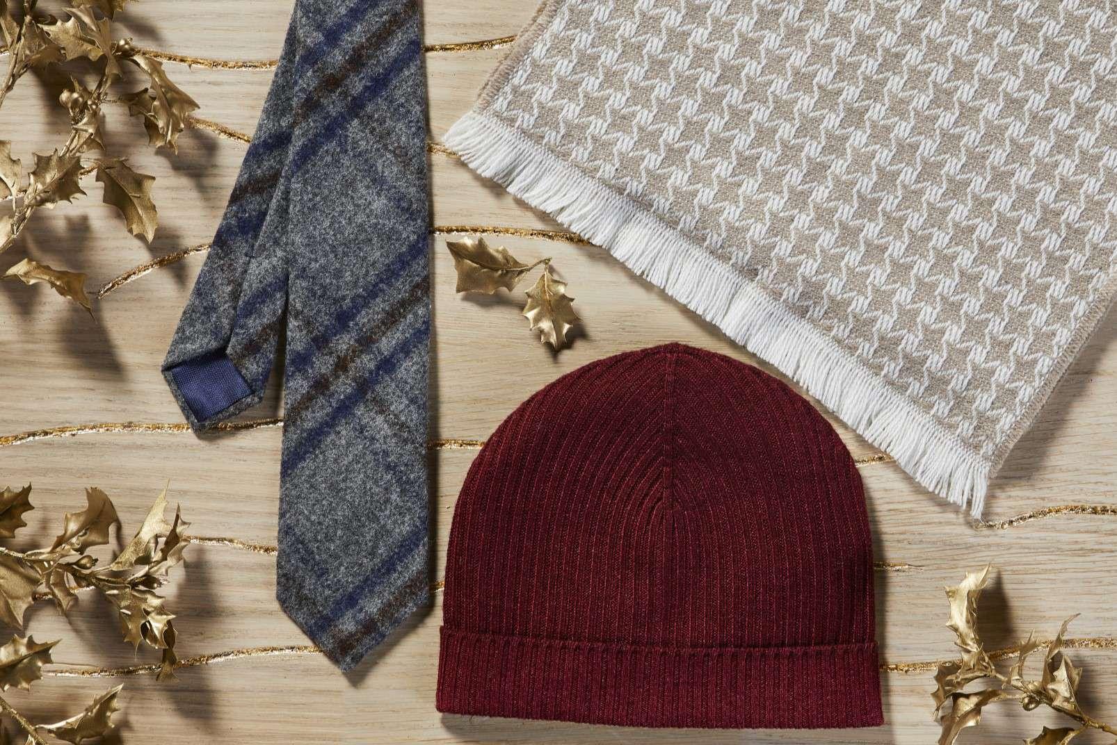 Boggi Milano gifts for a Gentleman - baby alpaca tie, cashmere scarf, cashmere hat