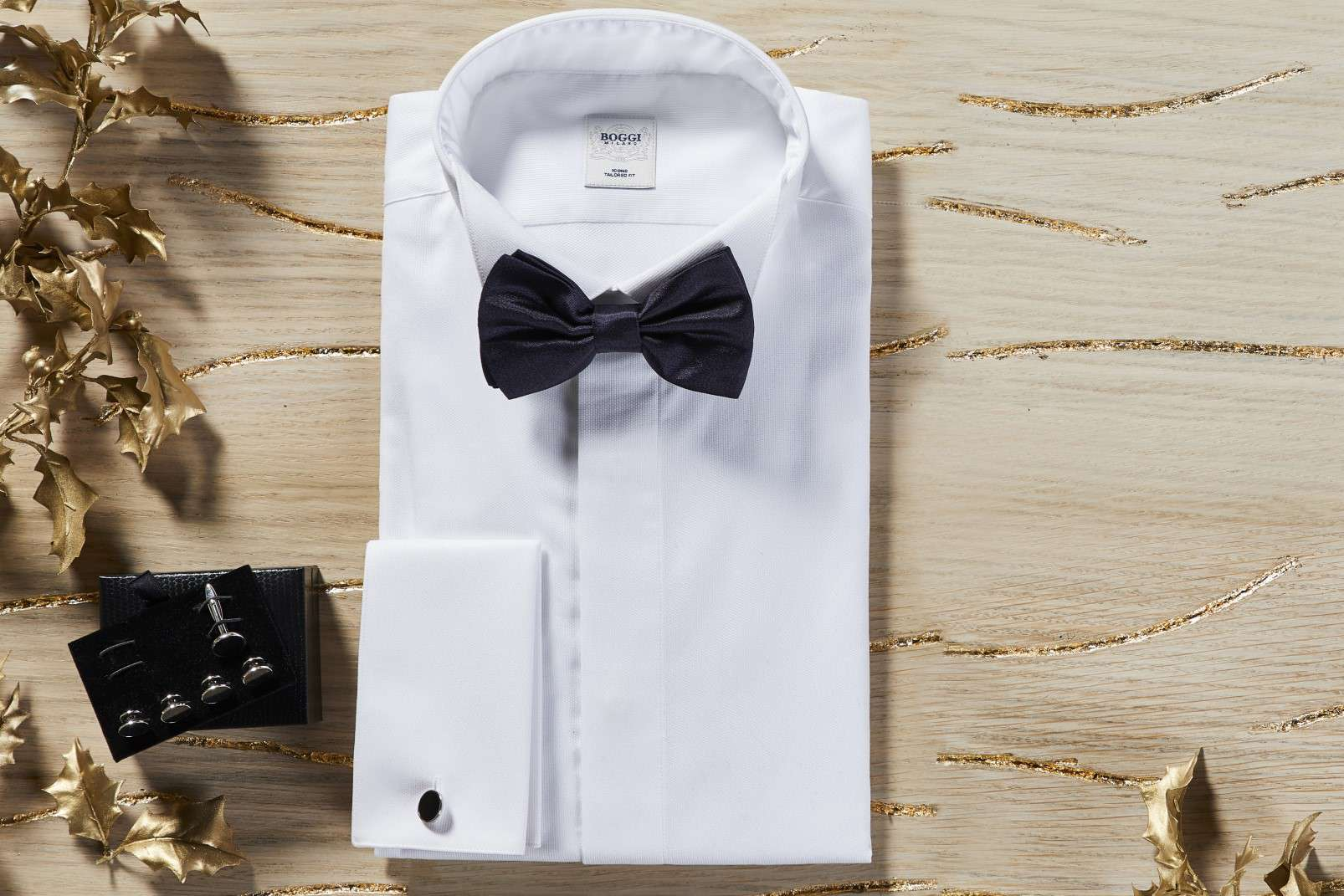 Boggi Milano gifts for a Gentleman - tuxedo shirt, black silk pre-tied bow tie, cufflinks