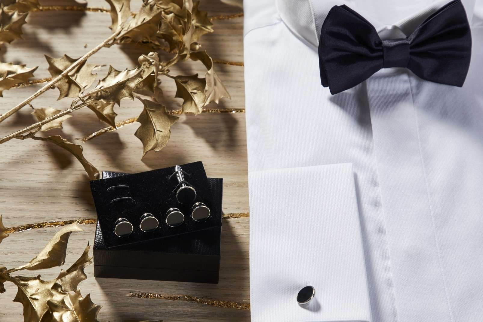 Boggi Milano gifts for a Gentleman - tuxedo shirt, black silk pre-tied bow tie, studs and cufflinks