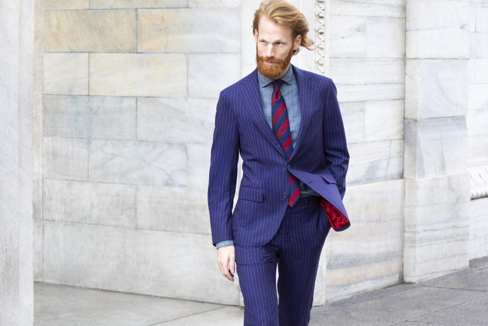 bouclé pinstripe suit