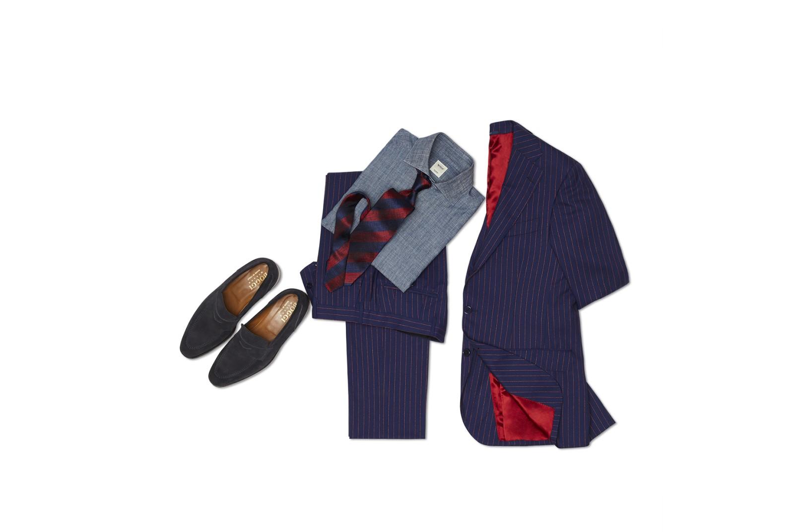 Boggi bouclé pinstripe suit