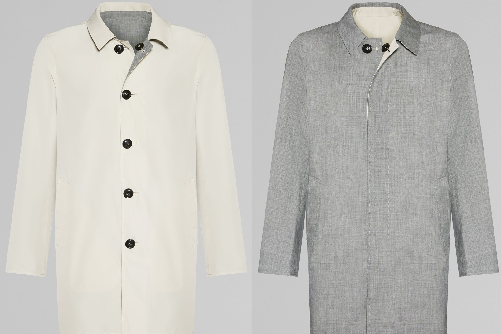 Two looks in one, the reversible raincoat