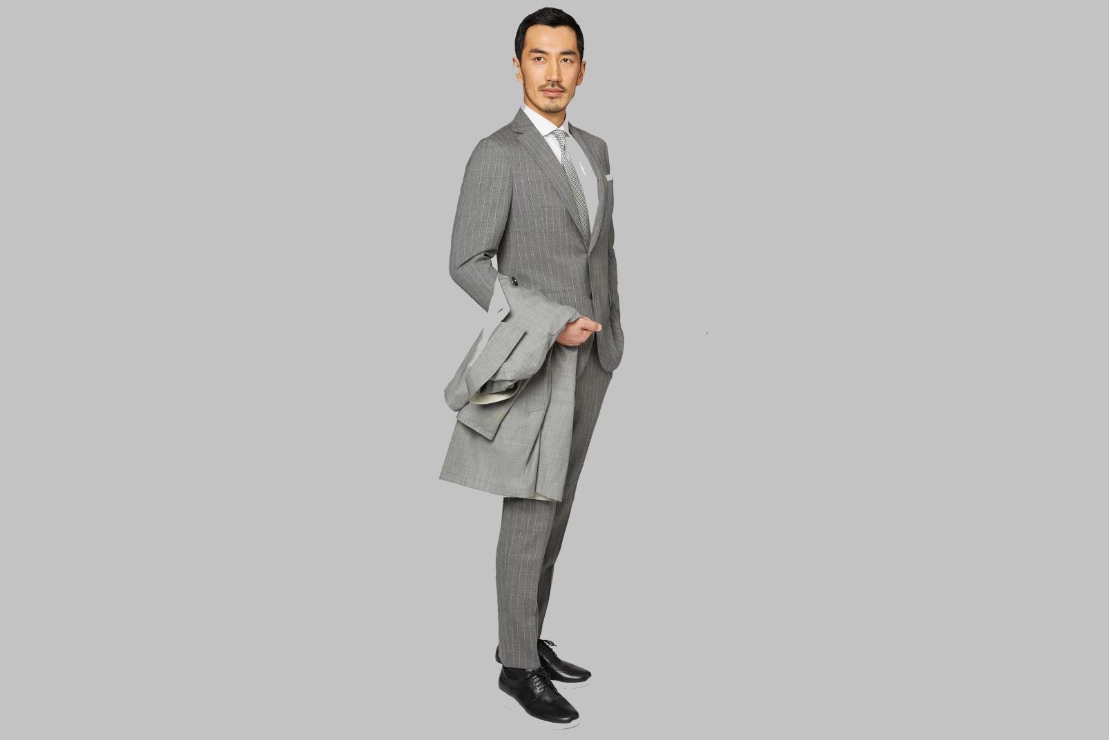 Grey bouclé suit