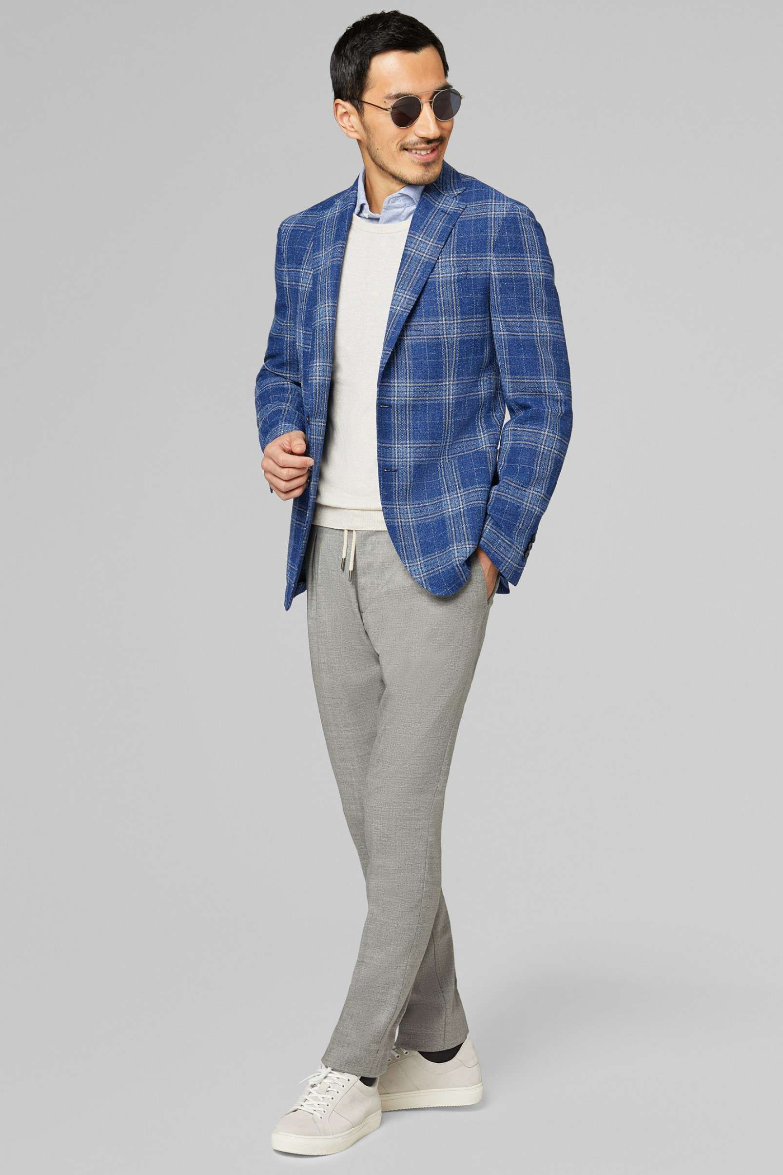 Boggi Milano Cornflower Blue check blazer BO19P054901