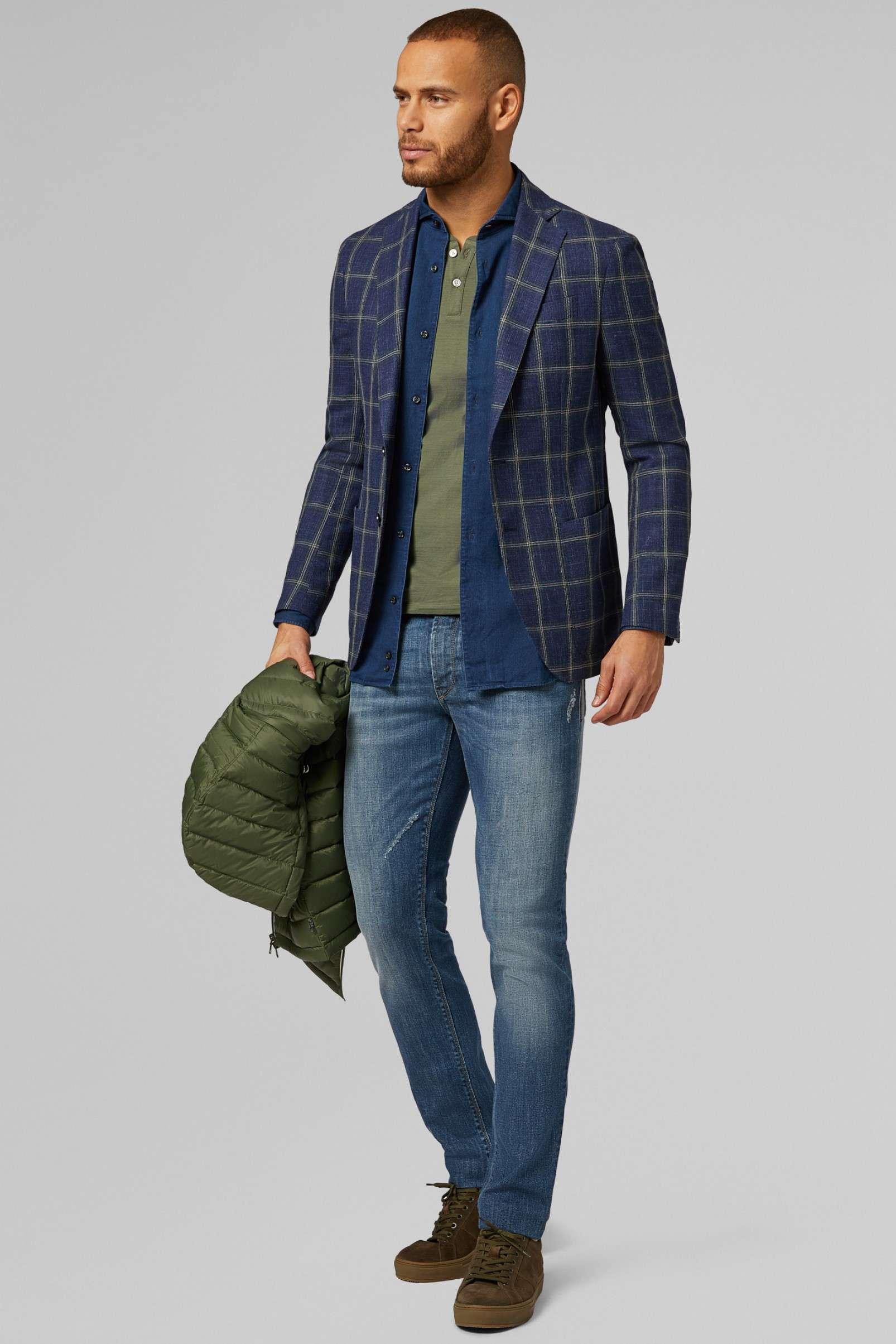 Boggi Milano Blue-Green check blazer BO19P057101