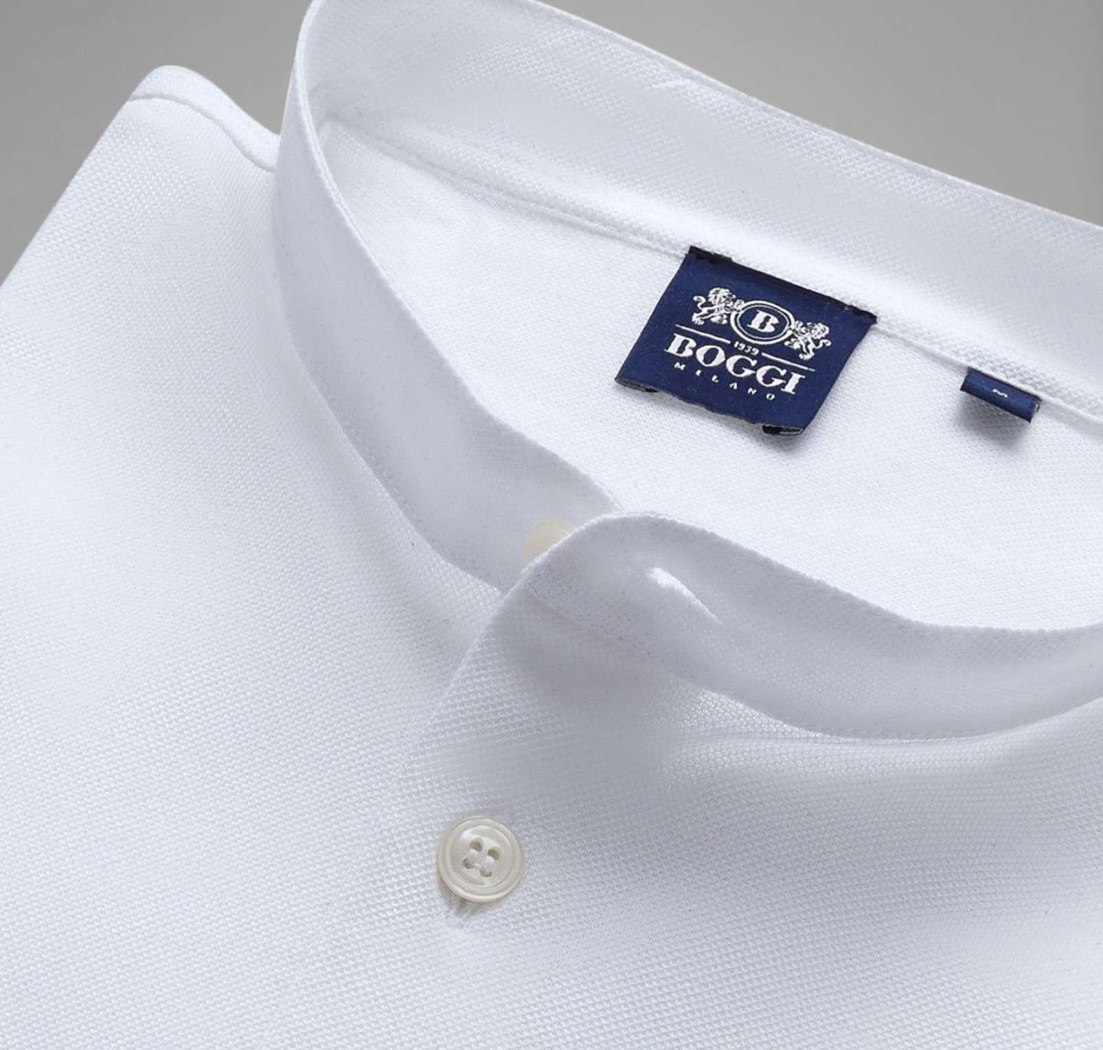 Boggi Milano BO19A047402 long sleeved polo with Korean collar