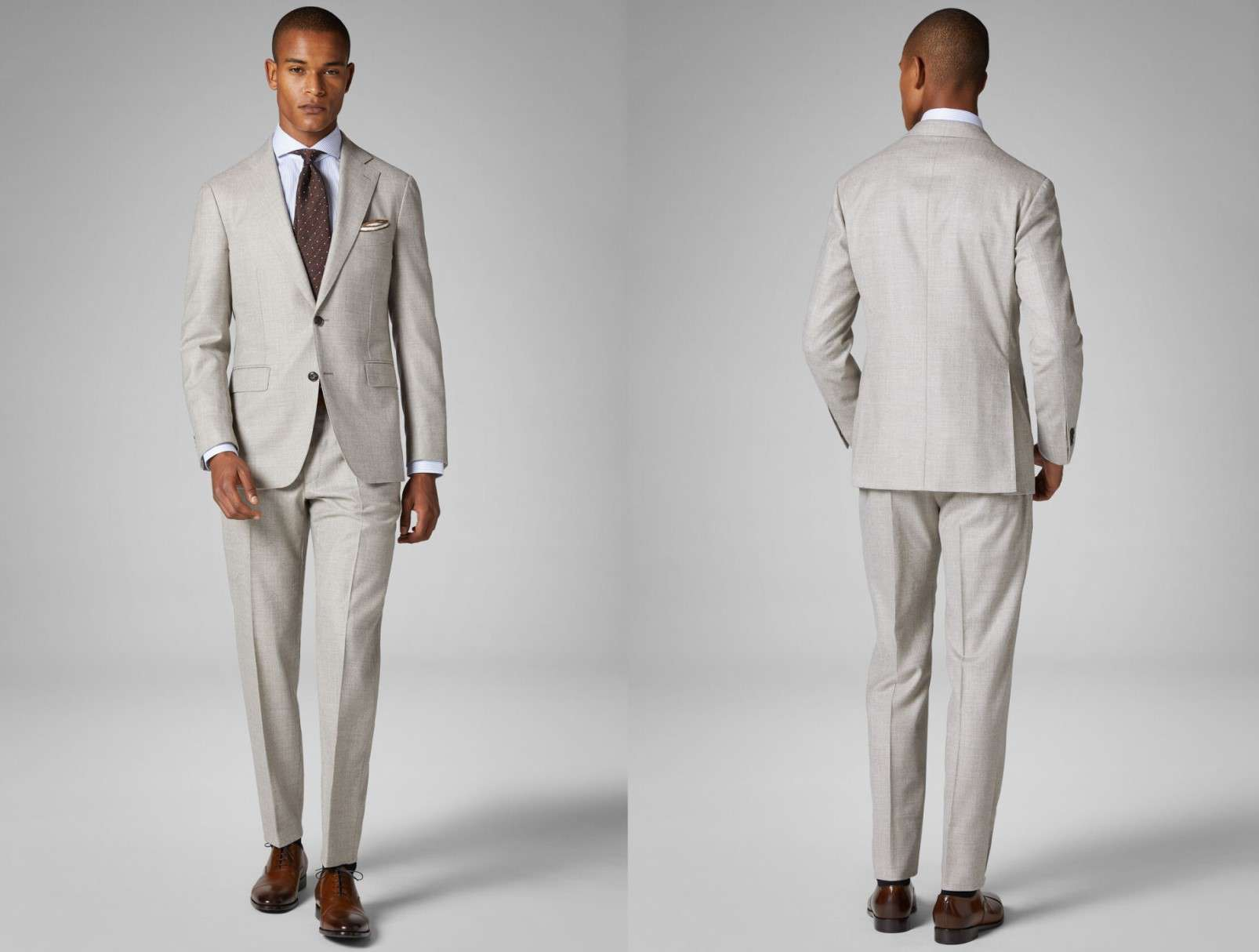 shoes to wear with suits, light grey suit, brown shoes