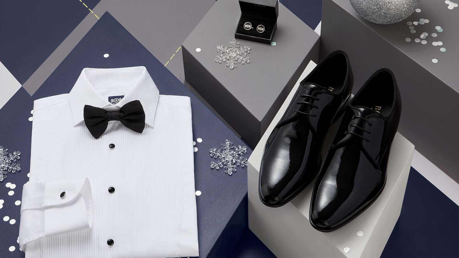Boggi Milano gifts tuxedo shirt, black silk pre-tied bow tie, studs and cufflinks